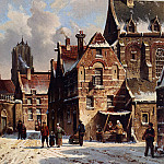 Adrianus Eversen - Figures In The Streets Of A Wintry Town