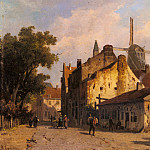 Adrianus Eversen - Village Scene With A Windmill