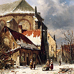 Adrianus Eversen - City view in the winter