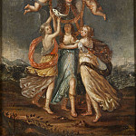 Ferdinand Julius Fagerlin - Three Allegorical Figures Bearing the Portrait of Karl XI of Sweden