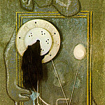 Max Ernst - Loplop introduces a young girl, 1930, Oil. olaster, an