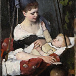 Joachim Frich - Young mother rocking her child