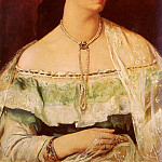 Anselm Friedrich Feuerbach - Portrait Of A Lady Wearing A Pearl Necklace