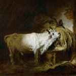The white bull in the stable, Jean Honore Fragonard