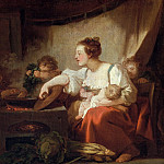 Jean Honore Fragonard - PREPARATION OF THE MEAL (HAPPY FAMILY)