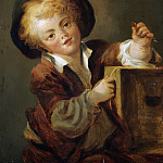 A LITTLE BOY WITH A CURIOSITY, SAID TO BE A PORTRAIT OF THE ARTISTS SON ALEXANDRE-EVARISTE , Jean Honore Fragonard