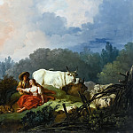 PASTORAL LANDSCAPE WITH A SHEPHERD AND SHEPHERDESS, Jean Honore Fragonard