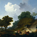 Landscape with Shepherds and Flock of Sheep, Jean Honore Fragonard