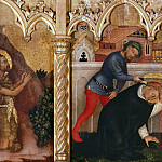 Stefano da Verona - The altar polyptych Coronation of the Virgin (Valle Romita Polyptych) - St. John the Baptist in the Desert, the Martyrdom of St. Peter of Verona