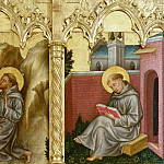 Gentile da Fabriano - The altar polyptych Coronation of the Virgin (Valle Romita Polyptych) - Franciscan Saint and St. Francis Receiving the Stigmata