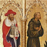 Antonio Barzaghi-Cattaneo - The altar polyptych Coronation of the Virgin (Valle Romita Polyptych) - St. Jerome and St. Francis of Assisi