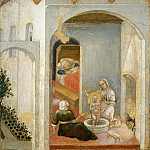 Lo Spagna (Giovanni di Pietro) - Quaratesi Altarpiece, predella - The Birth of Saint Nicholas
