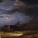 Pierre-Louis Cretey - View of Uppsala. Landscape by Moonlight