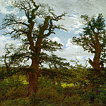 Caspar David Friedrich - Landscape with Oak Trees and a Hunter