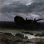 Caspar David Friedrich - Wreck In The Moonlight