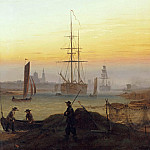 Karl Friedrich Schinkel - Ships in the Harbor of Greifswald