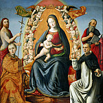 Pieter de (Peter Candid) Witte - Enthroned Madonna and Child with Saints Jerome, John the Baptist, Lawrence and Dominic