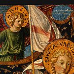 Benozzo Gozzoli - Saint Ursula with Angels and Donor, 1455, 47x28.6 cm