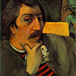 Paul Gauguin - Portrait of the artist with an idol, ca 1893, 43.8x3