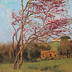 John William Godward - Landscape Blossoming Red Almond