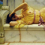 John William Godward - Girl in yellow Drapery