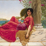 John William Godward - Leaning Against a Column
