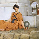 REPOSE, THE FLOWER GIRL, John William Godward