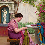 John William Godward - A seamstress