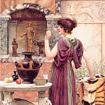 John William Godward - At the Garden Shrine Pompeii