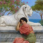 John William Godward - SEATED WOMAN WITH STONE LION