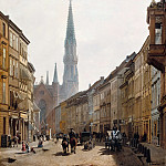 Eduard Gaertner - Bruderstrasse, In the background is St. Peters Church