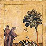 Saint Francis of Assisi Receiving the Stigmata, predella - Saint Francis Preaching to the Birds, Giotto di Bondone