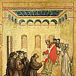 Saint Francis of Assisi Receiving the Stigmata, predella - The Pope approving the statutes of the Franciscan order, Giotto di Bondone
