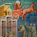 Legend of St Francis 08. Vision of the Flaming Chariot, Giotto di Bondone