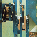 Juan Gris - The guitar, 1913, Oil and papier colle on canvas, 61x50