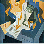 Juan Gris - Still Life with Fruit Dish and Mandolin, 92x65 cm, Priv