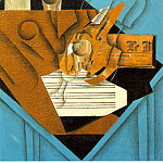 Juan Gris - Musicians table, 1914, Fusain, graphite, and colored p
