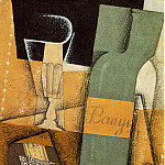 Juan Gris - The bottle of Banyuls, 1914, Pasted papers
