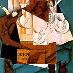 Juan Gris - Gris Breakfast, 1914, Papier colle, crayon, and oil on canva