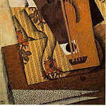 Juan Gris - Gris The guitar, 1914, Papier colle, gouache, fusain, and pe