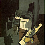 Juan Gris - Fruit dish, glass and lemon (Still life with nerwspaper