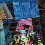 Juan Gris - Gris Still life before an open window- Place Ravignan, 1915,