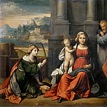 Guercino (Giovanni Francesco Barbieri) - Holy Family with Saint Catherine of Alexandria