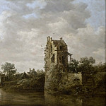 David von Krafft - Riverside with an Old Tower