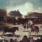 Francisco Jose De Goya y Lucientes - Village Bullfight, 1793, oil on wood, Academy of San Fe