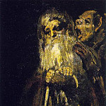 Francisco Jose De Goya y Lucientes - Two old men, ca 1821-23, Oil on plaster remounted on ca