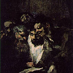 Francisco Jose De Goya y Lucientes - Men reading, ca 1819-23, 126x66 cm, Oil on plaster remo