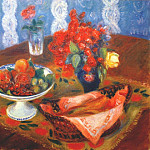 William James Glackens - still life with roses and fruit c1924