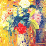 William James Glackens - bouquet against yellow wallpaper
