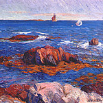 William James Glackens - rocks and lighhouse c1908